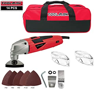 Lion Tools DB5803A Toolman 11pcs Multi-Purpose Oscillating Tool 2.1A 5 Speed with Safety Goggle Glasses Cutting Griding and Tool Bag For Cutting Grinding works with DeWalt Makita Ryobi Accessories