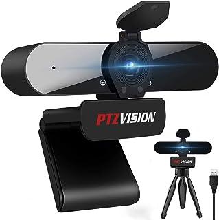 True 1080P Webcam with Microphone, (PTZ922) HD Web Camera for Laptop Desktop PC USB Video Streaming Camera with Tripod Pri...
