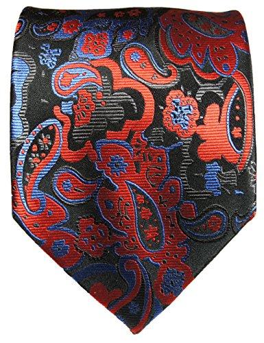 Paul Malone cravate homme rouge noir bleu motif cachemire 100% soie