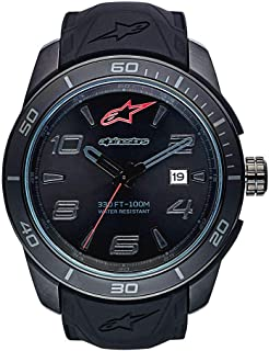 Alpinestars Tech Watch, Men's Analog 45 MM Stainless Steel case, 100 Meters Water Resistant, Japanese Quartz Movement, Integrated Silicone Wristband