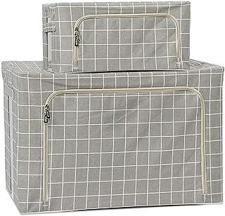 Garde-robe Ménage Boîte De Rangement, Tissu Pliant Conteneur Avec Poignée, 2 Pack + 22L 100L, Livre Vêtements Quilt Toy Pa...