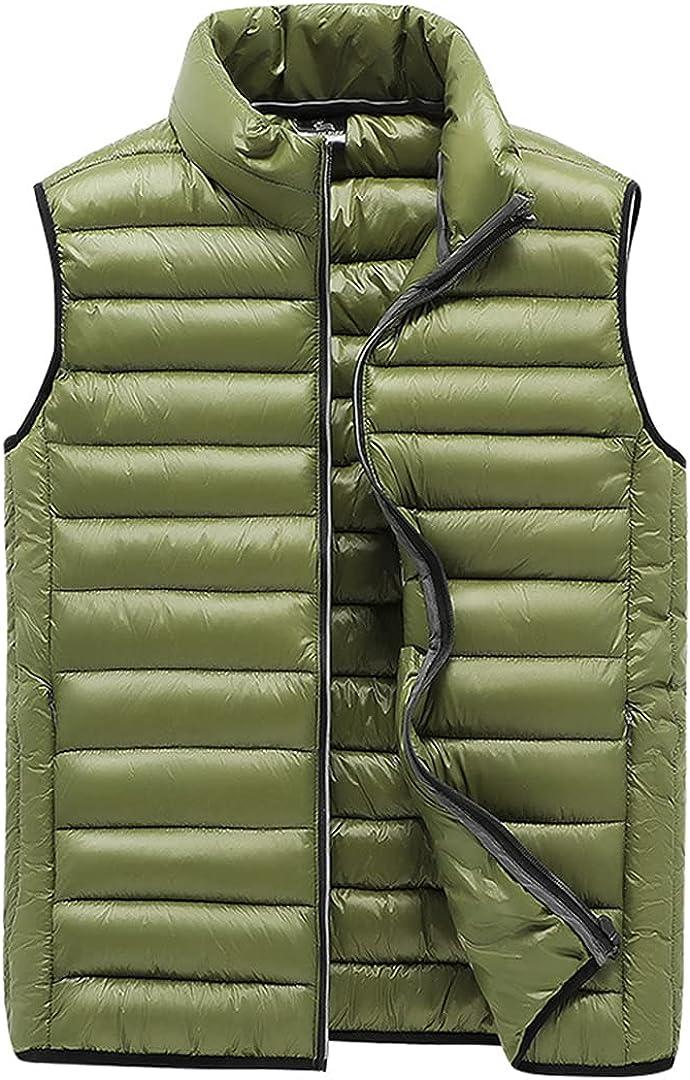 Mens Lightweight Down Alternative Vest Casual Sleeveless Zipper Puffer Jacket Warm Quilted Outerwear Coat