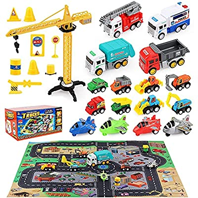 HONYAT Construction Truck Vehicles Car Toy Set with Play Mat and Car Storage Box, Engineering Truck Set with Tower Crane and Accessories, Gifts for Boys, Girls, Toddlers Ages 3-10 by HONYAT