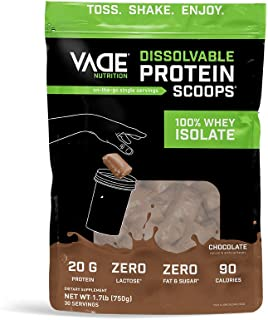 Vade Nutrition Dissolvable Protein Scoops | Chocolate Whey Isolate Protein Powder, On-The-Go, Low Carb, Low Calorie, Lactose Free, Gluten Free, Fat Free, Sugar Free, Lean, Great Tasting, 30 Servings