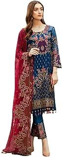 Indian Pakistani Designer Georgette Ready to Wear Festival Collection Salwar Kameez Muslim Suit 8638 (14, Blue)