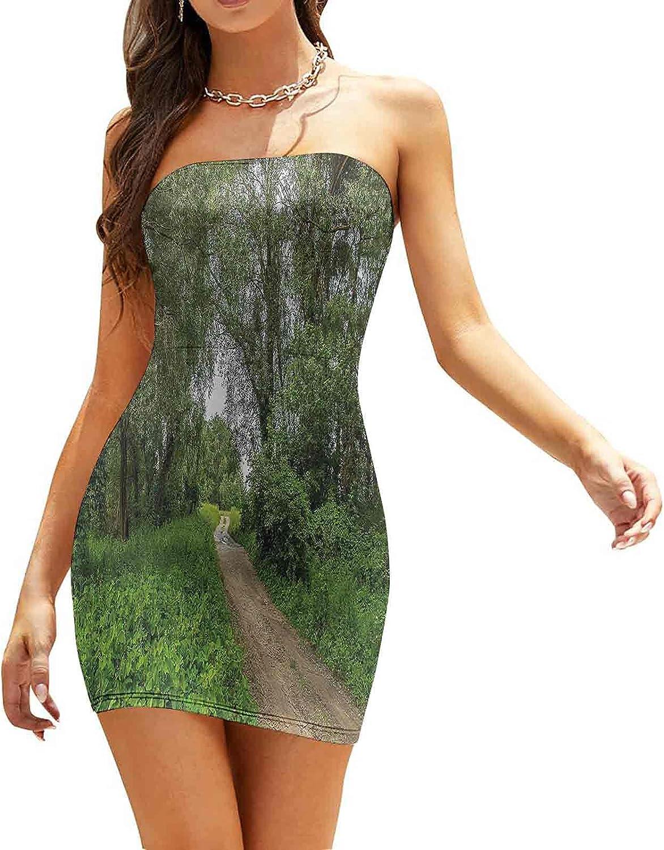 Women's Strapless Bodycon Club Dress Sunny Autumn Mountain Dresses