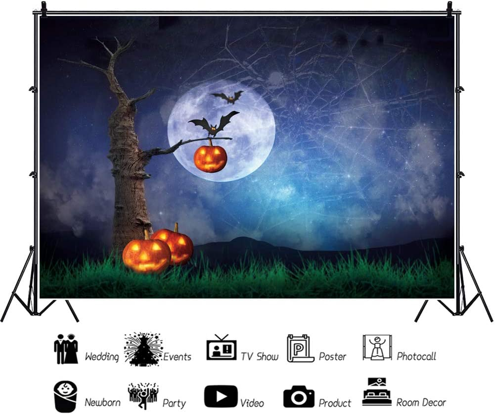 DaShan 14x10ft Horrible Halloween Backdrop Scary Ghost Graveyard Witch Wizard Sorcerer Theme Halloween Photography Background Pumpkin Lamp Misty Creepy Haunted Cemetery Halloween Photo Props