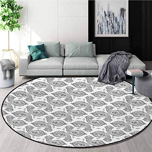 Sale!! RUGSMAT Paisley Modern Washable Round Bath Mat,Modern Tribal Inspired Design with Flower and ...