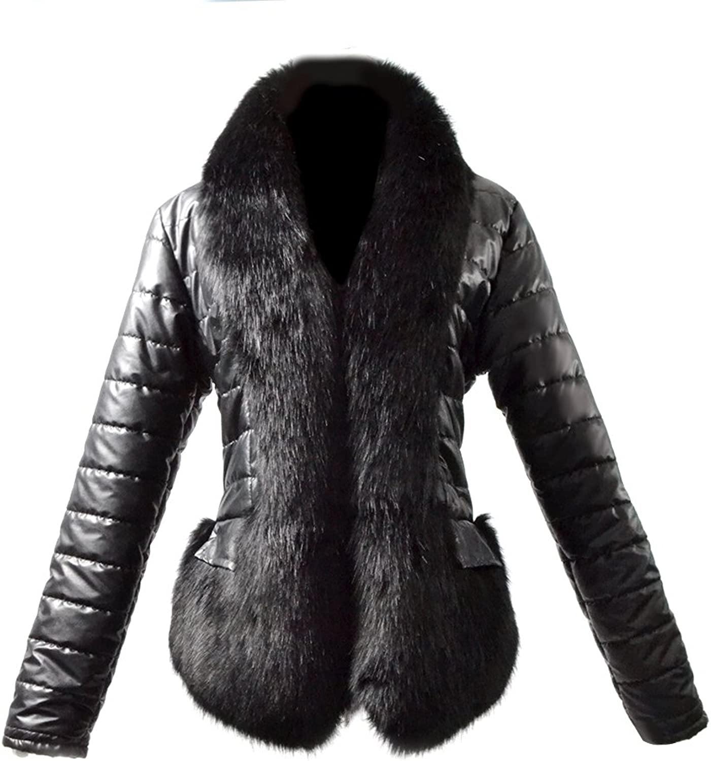 Fhillinuo Faux Leather with Thickness Fox Fur Collar