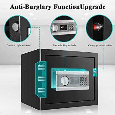 ETE ETMATE Fireproof and Waterproof Security Box, Digital Combination Lock Safe with Keypad LED Indicator, for Cash Money Jew