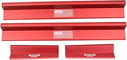 BESTAOO Jeep Wrangler Aluminum Alloy Front and Rear Entry Guards Door Sill Guards Scuff Plate Protectors for Jeep JK Wrangler 4 Doors Black