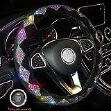 Dyshuai 15Inch Sparkling Shining Diamond Car Wheel Covers for Women Elegant Rhombus Rhinestone Anti-Slip Wheel Cover (Coloured)