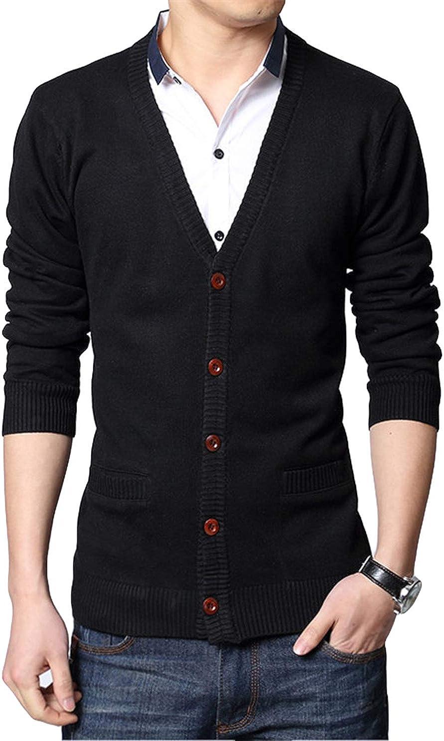 Itemnew Men's Essential V-Neck Single Breasted Regular Lightweight Knitwear Cardigan Sweater