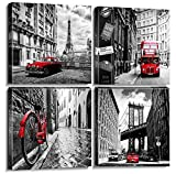 Black and White Red City Landscape Canvas Wall Art for Bedroom Living Room Decor Framed Paris London New York Cityscape Buildings Pictures Bathroom Office Home Decoration 12×12 Inches Set 4 Panels