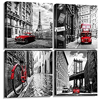 Black and White Wall Art for Bedroom Red Decor Paris Canvas Art London Painting Living Room Home Decorations 12×12 Inch City Landscape Bathroom Poster New York Cityscape Office Framed Picture 4 Panels