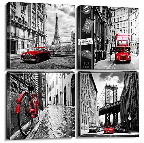 Wall Art Living Room Decor Canvas Print Black White and Red Paris Eiffel Tower Cityscape Pictures for Boys Bedroom Bathroom Home Decoration City Buildings Painting Framed 12×12 Inch Set of 4 Panels