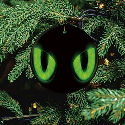 ALUONI Green Cats Eyes Isolated On A Black Christmas Ornaments 2020 Christmas Ceramic Pendant Personalized Creative Christmas Decorations Double Sided Christmas Tree Ornament SW30133 1PCS