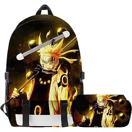 Mochila Anime, Grande Capacidad 3D Uchiha Sasuke Itachi Akatsuki Anime Cosplay Mochila Escolar+Estuche Harajuku Estudiante Bolso de Escuela Backpack para Portátil Viajes (N)