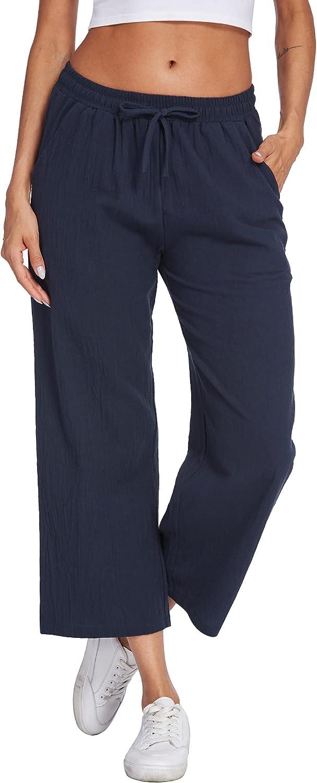 UNibelle Women Factory outlet Cotton Linen Pants Wais Drawstring Casual Las Vegas Mall Elastic