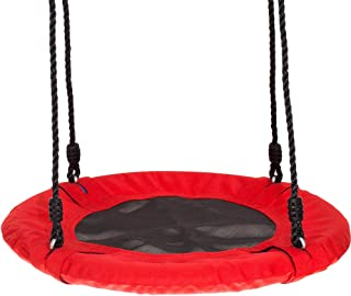 Swinging Monkey Products Fabric Saucer Spinner Swing - Fun! Easy Install on Swing Set or Tree, Nylon Rope with Padded Steel Frame (Red)