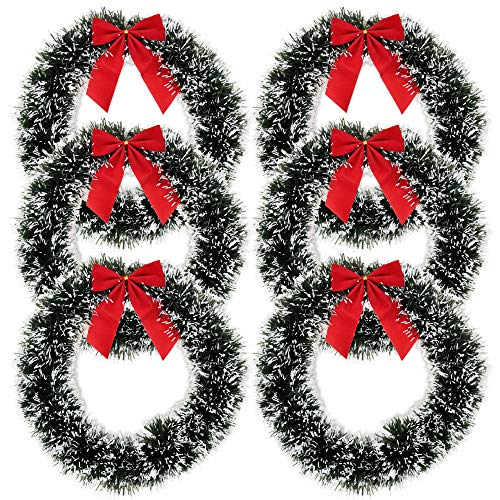 Gift Boutique 6 Christmas Wreath for Front Door with Red Bow 13' Winter Decoration Wall Decor Hanging Wreaths Kitchen Decorations Artificial Home Decor Holiday Indoor Window