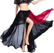 ROYAL SMEELA Chiffon Fairy Belly Dance Skirt Belly Dancing Costume, One Size, 3 Colors Black, Purple, Pink