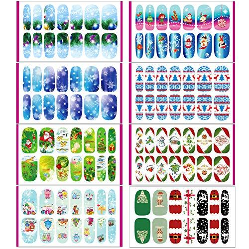 HOWAF 112pcs Navidad uñas calcomanías autoadherentes Calcomanía Transferible Nail Art Pegatinas Nail Sticker...