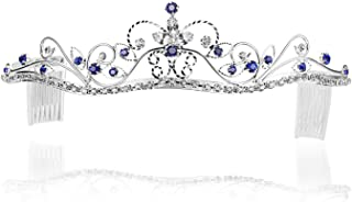 Rhinestone Crystal Flower Prom Bridal Wedding Crown Tiara - Royal/Dark Blue Crystals Silver Plating