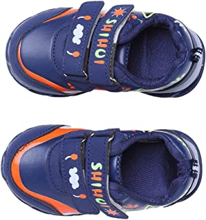 Hopscotch Boys PU Double Velcro LED Shoes in Navy Color