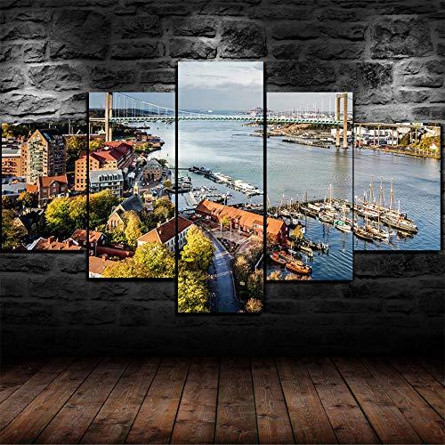 QZWXEC Göteborg, Sverige stadsutsikt/5 delar kanvastryck för målningar affischer konstverk modern duk väggkonst för hem- och kontorsinredning modulmålning total storlek: 150 x 80 cm med ram