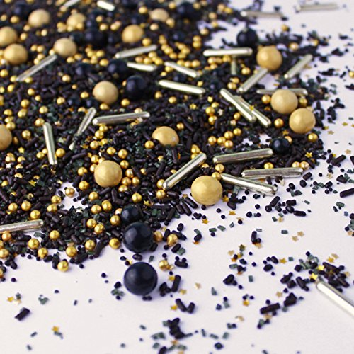 Black Gold Dessert Sprinkles Graduation New Years Christmas Glam Colorful Candy Sprinkles Mix For Baking Edible Cake Decorations Cupcake Toppers Cookie Decorating Ice Cream Toppings, 2OZ(sample size)