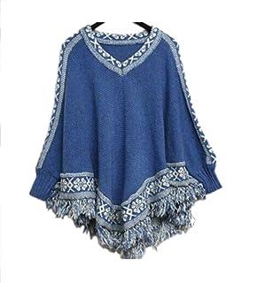 ノーブランド品 袖付き ゆったりフリンジ ニット ポンチョ kn-025 フリーサイズ 5.ブルー