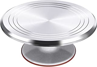 Puroma Aluminium Alloy Rotating Cake Turntable 12'' Revolving Cake Stand with Non-slipping Silicone Bottom, Ideal Cake Dec...