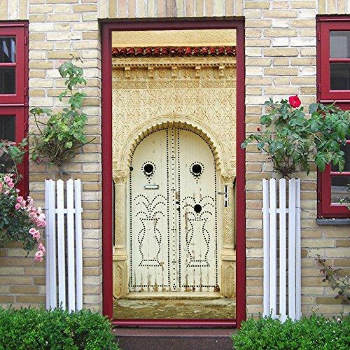 HYXLN Hellgelb Und Elfenbein Tür Muster Muslim Religiöse Vase Wohnzimmer Schlafzimmer Tür Kreative Hauptdekoration Abnehmbare 3D Aufkleber