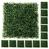 """Houseables Artificial Leaves Panels, Backyard Grass Privacy Fence, Boxwood, 20"""" x 20"""", 12 Pack, Green, Plastic, Outdoor Greenery Screen, Faux Plant Wall Backdrop, Garden Tile Decor, Fake Hedges"""