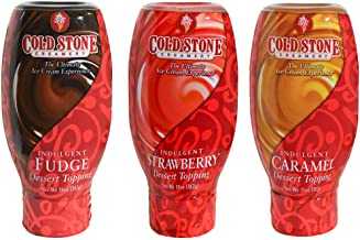 Cold Stone Creamery Sauce, Caramel, Fudge and Strawberry, 11 oz (Variety Pack of 3)