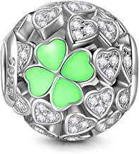 NINAQUEEN Lucky Clover 925 Sterling Silver Heart Shape Clovers Beads Great for Necklace Jewelry, Lucky Charms with Exquisite Package