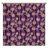 Promini Duschvorhang mit grafischem Hintergr& mit bunten schottischen Disteln, waschbarer Duschvorhang mit Haken, 180 x 180 cm, Polyester