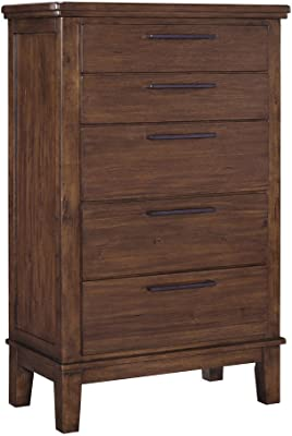 Ashley Furniture Signature Design - Ralene Five Drawer Chest - Contemporary - Medium Brown