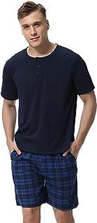 Aibrou Pijama Hombre Verano Corto Algodón Set,Pijama Casual Manga Corta,Camiseta y Pantalones Cómodo y Transpirable Ropa de Dormir S-XXL