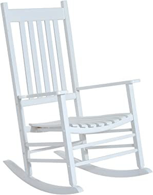 Outsunny Wooden Porch Rocking Chair Outdoor Patio Rocker Garden Single Leisure Reclining Seat Armchair White