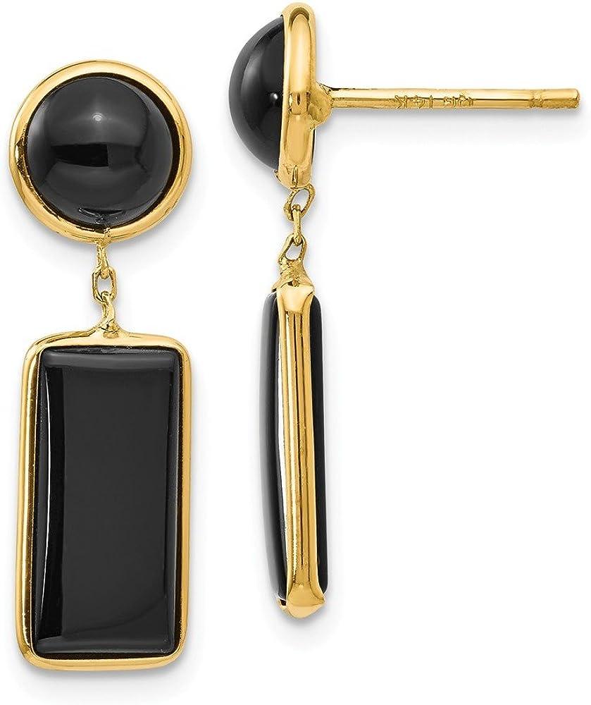 14k Yellow Gold Black Onyx Rectangle Drop Dangle Chandelier Post Stud Earrings Fine Jewelry For Women Gifts For Her