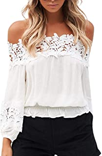 Women's Chiffon Lace Blouse Summer Long Sleeve Tops Casual Off Shoulder Ruched Fitting Shirts
