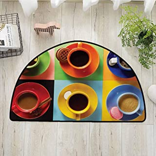 Xlcsomf Warm Half Round Door mat Kitchen Decorative Home Cups of Coffee Tea Hot Chocolate on Colorful Background with Tasty Deserts Biscuits,W35 x L24 Multicolor
