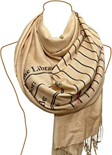 Book Scarf. Library scarf. Library scarf with day due stamps. Print scarf