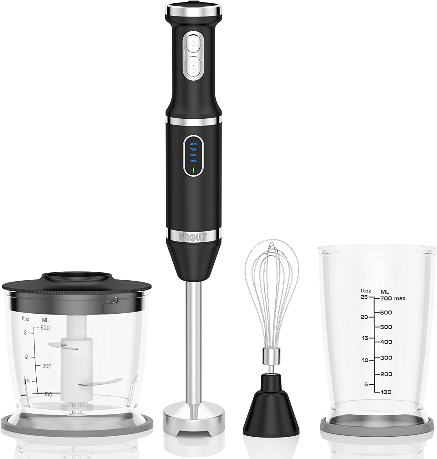 Hand Blender Electric, Immersion Smart Stick Blender Rechargeable with Stainless Steel Blades, Variable Speed Beaker Whisk for Infant Food Smoothies Puree Sauces Soups (Black)