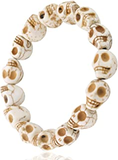 JewelrieShop Skull Bracelet Colorful Howlite Synthetic Turquoise Skeleton Tibetan Prayer Bead Mala Bracelet for Men Women