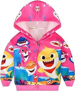 AOVCLKID Toddler Girls Baby Princess Outerwear Shark Cartoon Print Coat