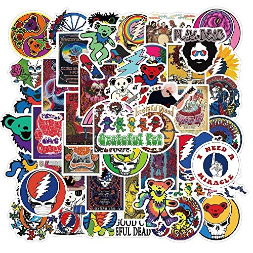 Greatful Bear Stickers [50PCS] Grateful/Dead stickers Rock Band Stickers Pack Waterproof Cute Aesthetic Trendy Vinyl Stickers for Teens Girls and Boys, Perfect for Car Motorcycle Bicycle Skateboard Luggage Decal Graffiti Stickers