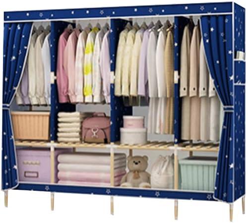 Kleiderschrank Schrank Schlichter Stoff Kleiderschrank Oxfordtuch einfache moderne Einzelmontage Aufh en Heimstoff Massivholz Economy Modern Large 1